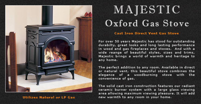 Majestic Oxford Direct Vent Gas Stove Adams Stove Company